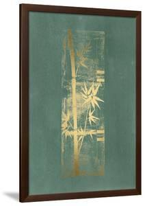 Gold Foil Bamboo I on Blue Green Wash by Jennifer Goldberger