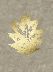 Gold Foil Leaf I on Lichen Wash by Jennifer Goldberger
