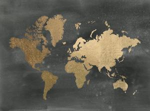 Gold Foil World Map on Black by Jennifer Goldberger