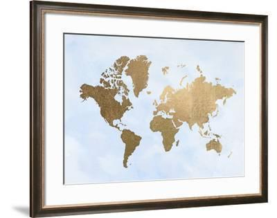 Gold Foil World Map on Blue