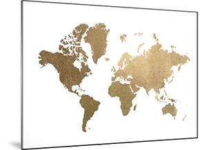 Gold Foil World Map by Jennifer Goldberger