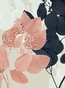 Indigo & Blush Leaves I by Jennifer Goldberger