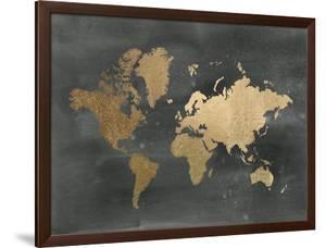Large Gold Foil World Map on Black by Jennifer Goldberger