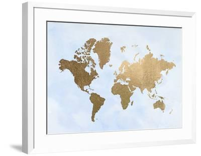 Large Gold Foil World Map on Blue