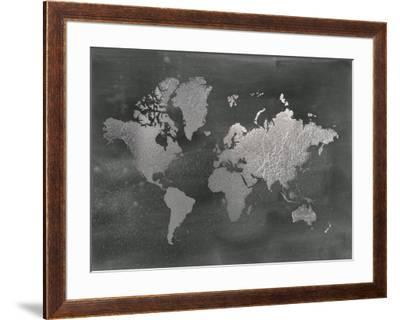 Large Silver Foil World Map on Black