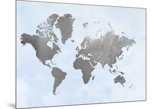 Large Silver Foil World Map on Blue by Jennifer Goldberger