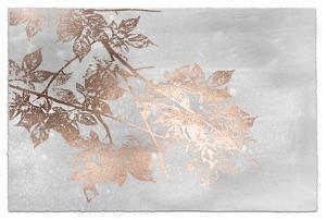 Rose Gold Foil Maple I on Grey Wash by Jennifer Goldberger