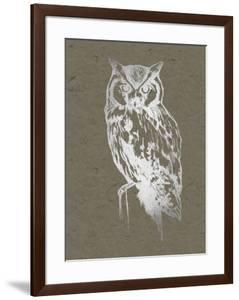 Silver Foil Owl I on Banana Clay by Jennifer Goldberger