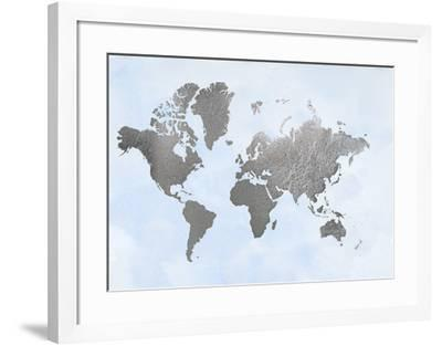 Silver Foil World Map on Blue
