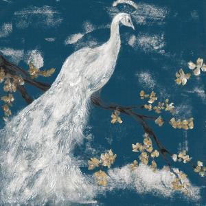 White Peacock on Indigo I by Jennifer Goldberger