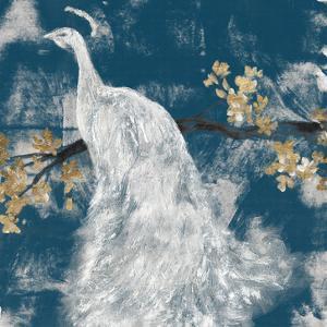 White Peacock on Indigo II by Jennifer Goldberger