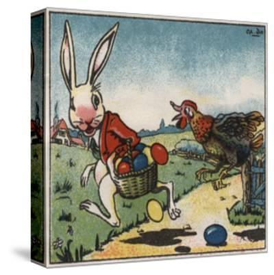 Easter Rabbit and Chicken Illustration on Egg Dye Packaging