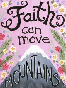 Faith Can Move Pink Floral by Jennifer Nilsson