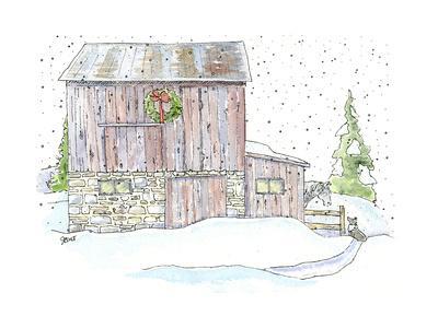 Barn Wreath Snow