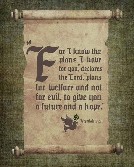 Jeremiah 29:11 For I know the Plans I have for You (Scroll)-Inspire Me-Art Print