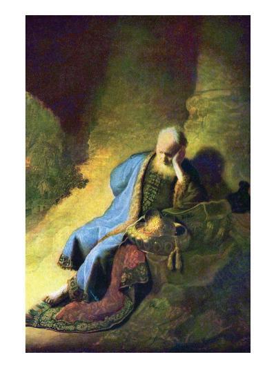 Jeremiah Mourning over the Destruction of Jerusalem-Rembrandt van Rijn-Art Print