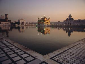 Dawn at the Golden Temple and Cloisters and the Holy Pool of Nectar, Punjab State, India by Jeremy Bright