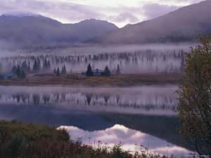 Dawn Mist in Autumnal Colours and Hunters Cabin Closed for the Winter, Kenai Peninsula, Alaska, USA by Jeremy Bright