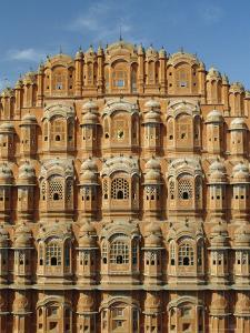 Detail of the Facade of the Palace of the Winds or Hawa Mahal, Rajasthan, India by Jeremy Bright
