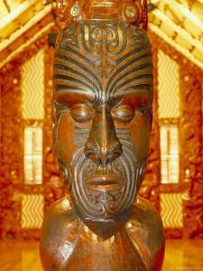 Maori Statue with 'Moko' Facial Tattoo, New Zealand by Jeremy Bright