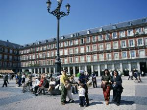 People at a Popular Meeting Point in the Plaza Mayor in Madrid, Spain, Europe by Jeremy Bright