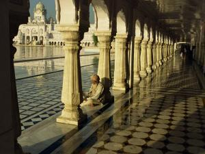 Sikh Elder at Prayer at the Golden Temple of Amritsar, Punjab State, India by Jeremy Bright