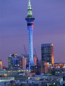 Sky Tower and City Skyline at Dusk, Auckland, North Island, New Zealand, Pacific by Jeremy Bright
