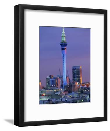 Sky Tower and City Skyline at Dusk, Auckland, North Island, New Zealand, Pacific