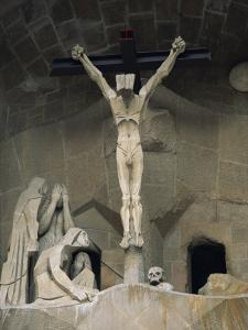 Statue of Christ at the Entrance to Sagrada Familia, the Gaudi Cathedral, Barcelona, Spain by Jeremy Bright
