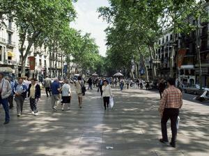 Tourists on Promenade, Rambla De Canaletes, Barcelona, Catalonia, Spain by Jeremy Bright