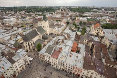 View of old town from top of City Hall Tower, UNESCO World Heritage Site, Lviv, Ukraine, Europe