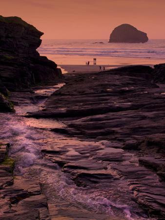 Sunset, Trebarwith Strand, Cornwall, England, United Kingdom, Europe by Jeremy Lightfoot
