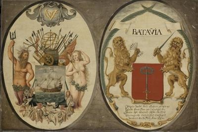 The Arms of the Dutch East India Company and of the Town of Batavia, 1651
