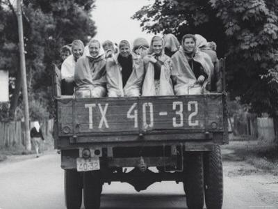 Farm Girls Riding in a Truck