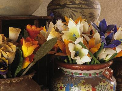 Colorful artificial flowers and pottery, Santa Fe, New Mexico, USA