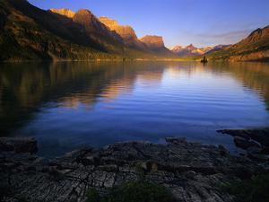 Early Morning at St Mary Lake in Glacier National Park, Montana, USA by Jerry Ginsberg