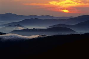 Sunset over the Great Smoky Mountains National Park, Tennessee, USA by Jerry Ginsberg