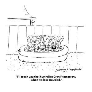 """""""I'll teach you the 'Australian Crawl' tomorrow, when it's less crowded."""" - Cartoon by Jerry Marcus"""