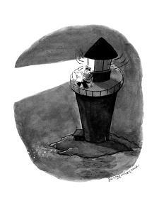 Lighthouse keeper reads newspaper by the light of the lighthouse - Cartoon by Jerry Marcus