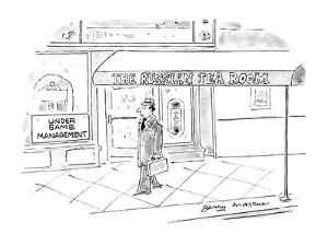 Man walks by a building that has a sign at the side of it that reads 'Unde? - New Yorker Cartoon by Jerry Marcus