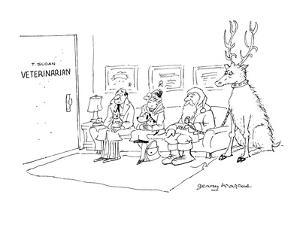 Santa sitting in the waiting room of 'T. Sloan, Veterinarian' with a sick-? - Cartoon by Jerry Marcus