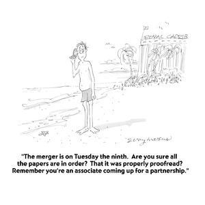 """""""The merger is on Tuesday the ninth.  Are you sure all the papers are in o?"""" - Cartoon by Jerry Marcus"""