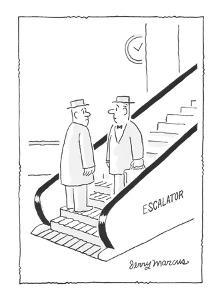two men face each on escalator?each not knowing who's going the wrong way - Cartoon by Jerry Marcus
