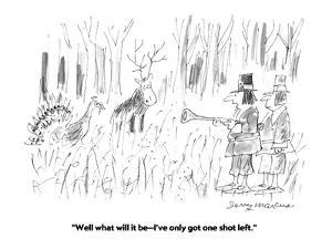 """""""Well what will it be?I've only got one shot left."""" - Cartoon by Jerry Marcus"""