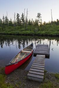 A Canoe Dock on the Cold Stream in the Northern Forests, Maine by Jerry & Marcy Monkman