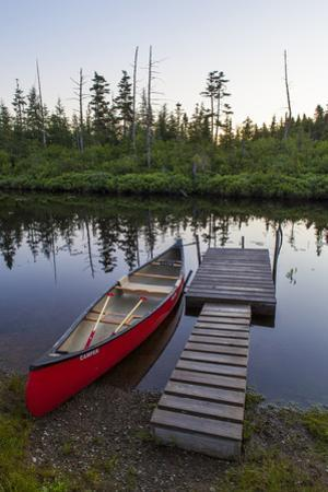 A Canoe Dock on the Cold Stream in the Northern Forests, Maine