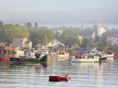 Boats in Morning Fog. Corea, Maine, Usa by Jerry & Marcy Monkman