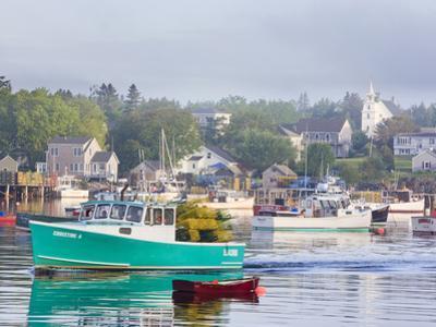 Boats in Morning Fog. Corea, Maine, Usa
