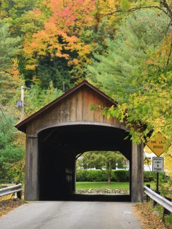Built in 1837, Coombs Covered Bridge, Ashuelot River in Winchester, New Hampshire, USA