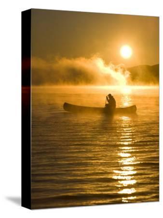 Canoeing at Sunrise, Moosehead Lake, Maine, USA